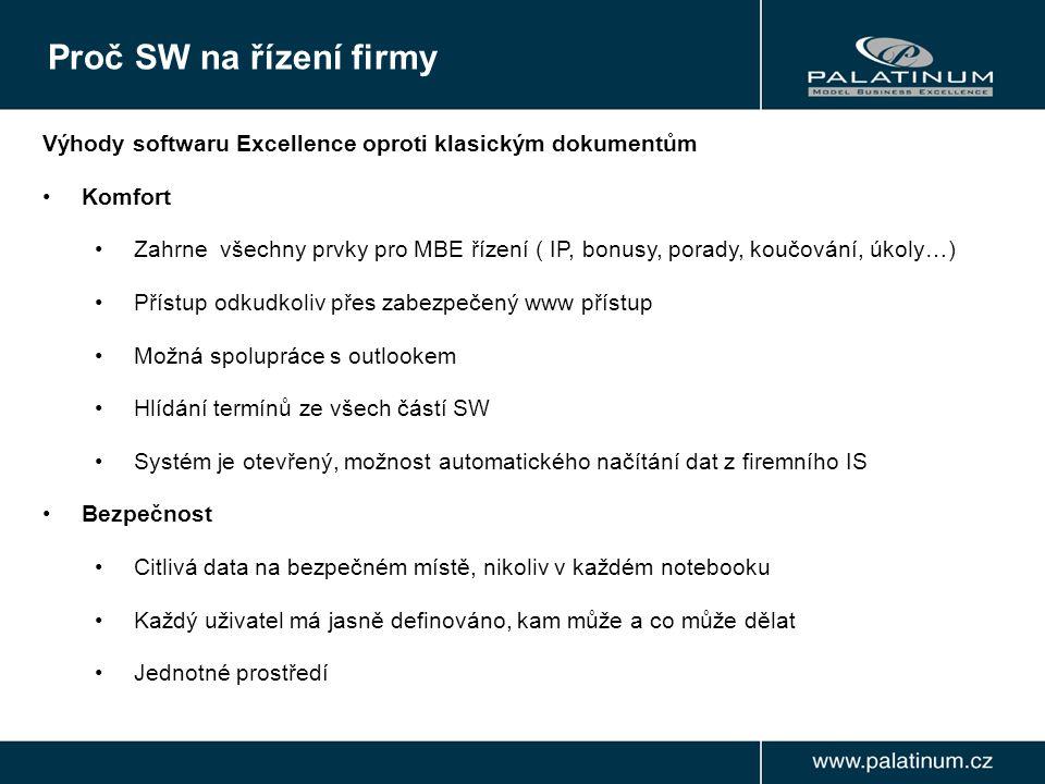 Výhody softwaru Excellence oproti klasickým dokumentům Komfort Zahrne všechny prvky pro MBE řízení ( IP, bonusy, porady, koučování, úkoly…) Přístup odkudkoliv přes zabezpečený www přístup Možná spolupráce s outlookem Hlídání termínů ze všech částí SW Systém je otevřený, možnost automatického načítání dat z firemního IS Bezpečnost Citlivá data na bezpečném místě, nikoliv v každém notebooku Každý uživatel má jasně definováno, kam může a co může dělat Jednotné prostředí Proč SW na řízení firmy
