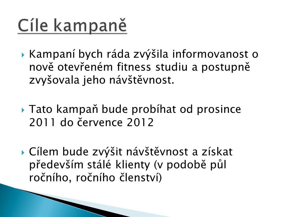  Kampaní bych ráda zvýšila informovanost o nově otevřeném fitness studiu a postupně zvyšovala jeho návštěvnost.