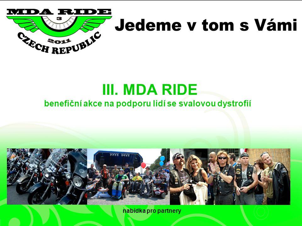 III. MDA RIDE benefiční akce na podporu lidí se svalovou dystrofií nabídka pro partnery