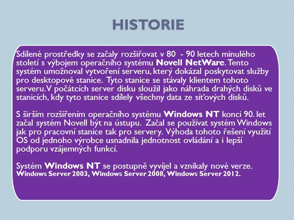 HISTORIE Sdílené prostředky se začaly rozšiřovat v 80 - 90 letech minulého století s výbojem operačního systému Novell NetWare.