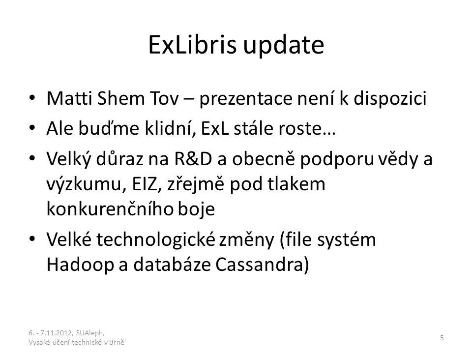 Aleph v21.0 (major) leden 2012; v21.1 (minor – žádné změny v DB) prosinec 2012; v22.0 (major) prosinec 2013 Požadavky na vývoj: návrhy do 22.