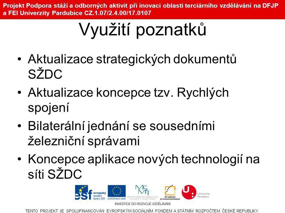 Projekt Podpora stáží a odborných aktivit při inovaci oblasti terciárního vzdělávání na DFJP a FEI Univerzity Pardubice CZ.1.07/2.4.00/17.0107 Využití poznatků Aktualizace strategických dokumentů SŽDC Aktualizace koncepce tzv.