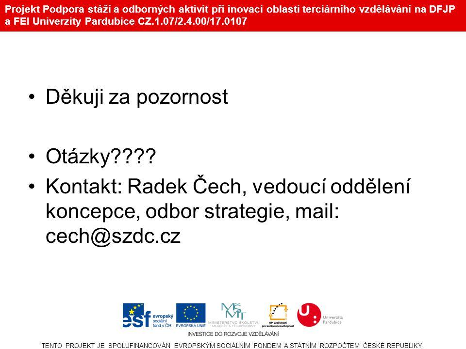 Projekt Podpora stáží a odborných aktivit při inovaci oblasti terciárního vzdělávání na DFJP a FEI Univerzity Pardubice CZ.1.07/2.4.00/17.0107 Děkuji za pozornost Otázky???.