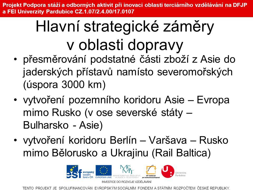 Projekt Podpora stáží a odborných aktivit při inovaci oblasti terciárního vzdělávání na DFJP a FEI Univerzity Pardubice CZ.1.07/2.4.00/17.0107 Hlavní strategické záměry v oblasti dopravy Takovým spojením může být i nový projekt RS.