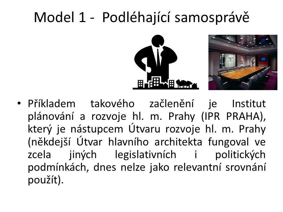 Model 1 - Podléhající samosprávě Příkladem takového začlenění je Institut plánování a rozvoje hl. m. Prahy (IPR PRAHA), který je nástupcem Útvaru rozv