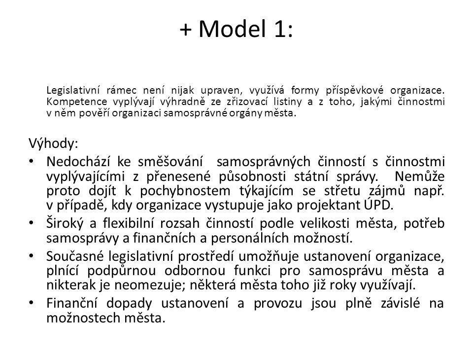 + Model 1: Legislativní rámec není nijak upraven, využívá formy příspěvkové organizace. Kompetence vyplývají výhradně ze zřizovací listiny a z toho, j