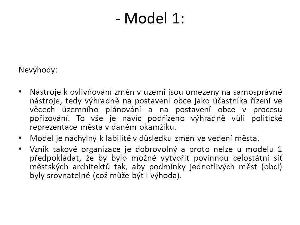 - Model 1: Nevýhody: Nástroje k ovlivňování změn v území jsou omezeny na samosprávné nástroje, tedy výhradně na postavení obce jako účastníka řízení v