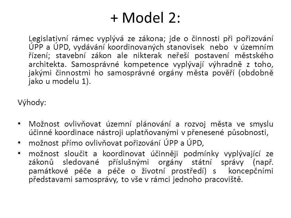 + Model 2: Legislativní rámec vyplývá ze zákona; jde o činnosti při pořizování ÚPP a ÚPD, vydávání koordinovaných stanovisek nebo v územním řízení; st