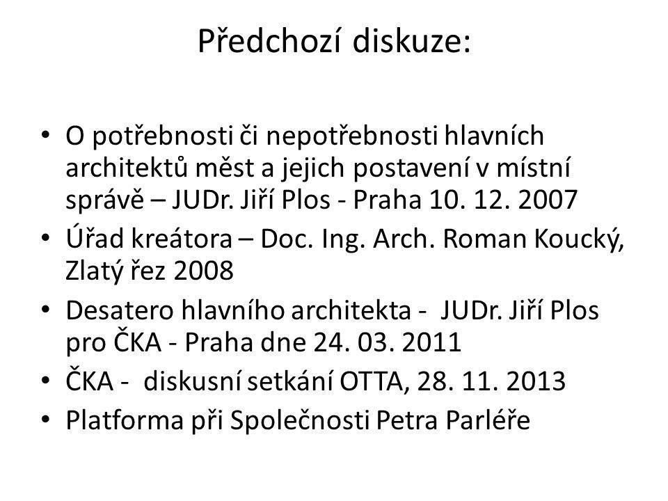 Předchozí diskuze: O potřebnosti či nepotřebnosti hlavních architektů měst a jejich postavení v místní správě – JUDr. Jiří Plos - Praha 10. 12. 2007 Ú