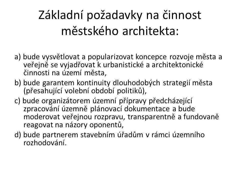 Základní požadavky na činnost městského architekta: a) bude vysvětlovat a popularizovat koncepce rozvoje města a veřejně se vyjadřovat k urbanistické