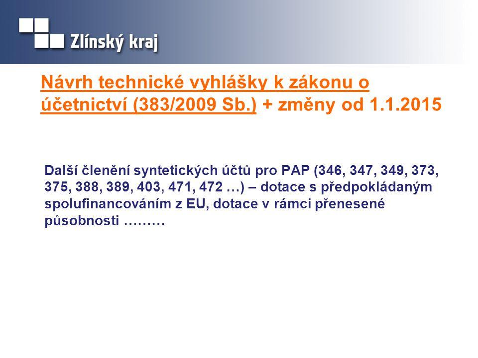 Návrh technické vyhlášky k zákonu o účetnictví (383/2009 Sb.) + změny od 1.1.2015 Další členění syntetických účtů pro PAP (346, 347, 349, 373, 375, 38