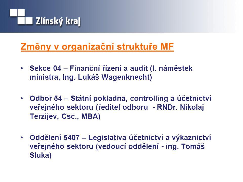 Změny v organizační struktuře MF Sekce 04 – Finanční řízení a audit (I. náměstek ministra, Ing. Lukáš Wagenknecht) Odbor 54 – Státní pokladna, control