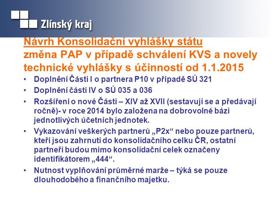 Návrh Konsolidační vyhlášky státu změna PAP v případě schválení KVS a novely technické vyhlášky s účinností od 1.1.2015 Doplnění Části I o partnera P1