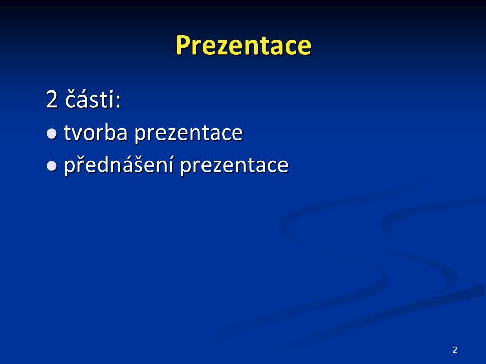2 Prezentace 2 části: tvorba prezentace tvorba prezentace přednášení prezentace přednášení prezentace