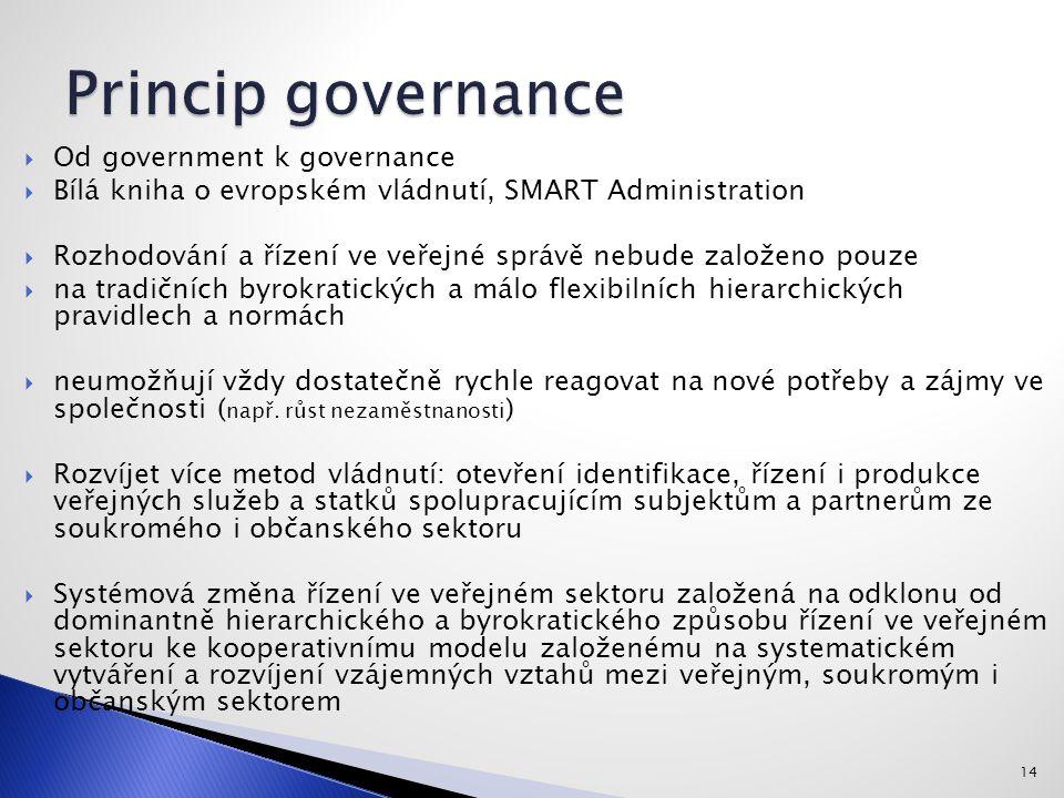 14  Od government k governance  Bílá kniha o evropském vládnutí, SMART Administration  Rozhodování a řízení ve veřejné správě nebude založeno pouze  na tradičních byrokratických a málo flexibilních hierarchických pravidlech a normách  neumožňují vždy dostatečně rychle reagovat na nové potřeby a zájmy ve společnosti ( např.