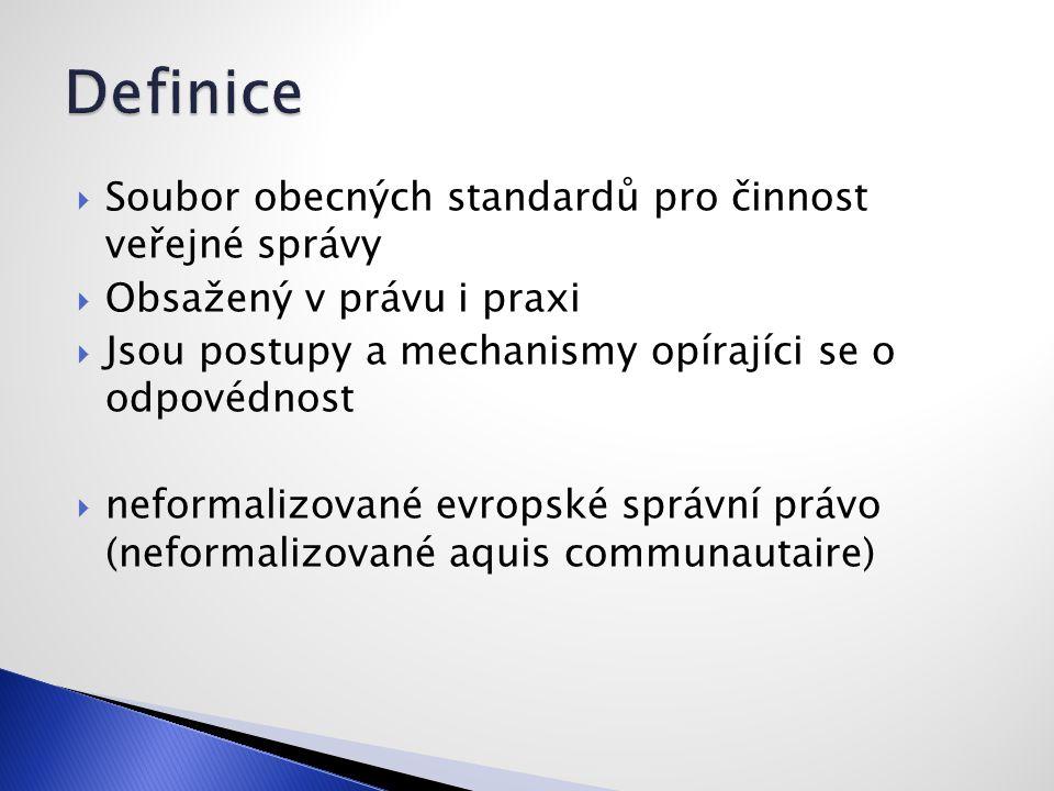  Soubor obecných standardů pro činnost veřejné správy  Obsažený v právu i praxi  Jsou postupy a mechanismy opírajíci se o odpovédnost  neformalizované evropské správní právo (neformalizované aquis communautaire)