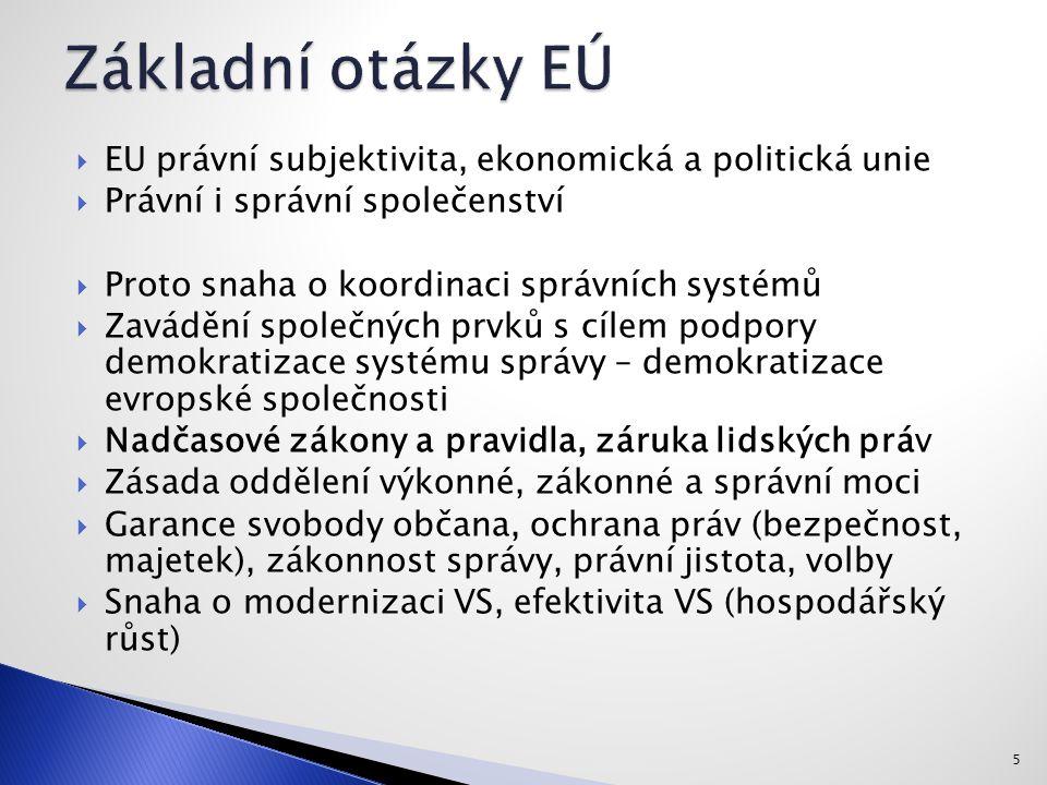  EU právní subjektivita, ekonomická a politická unie  Právní i správní společenství  Proto snaha o koordinaci správních systémů  Zavádění společných prvků s cílem podpory demokratizace systému správy – demokratizace evropské společnosti  Nadčasové zákony a pravidla, záruka lidských práv  Zásada oddělení výkonné, zákonné a správní moci  Garance svobody občana, ochrana práv (bezpečnost, majetek), zákonnost správy, právní jistota, volby  Snaha o modernizaci VS, efektivita VS (hospodářský růst) 5