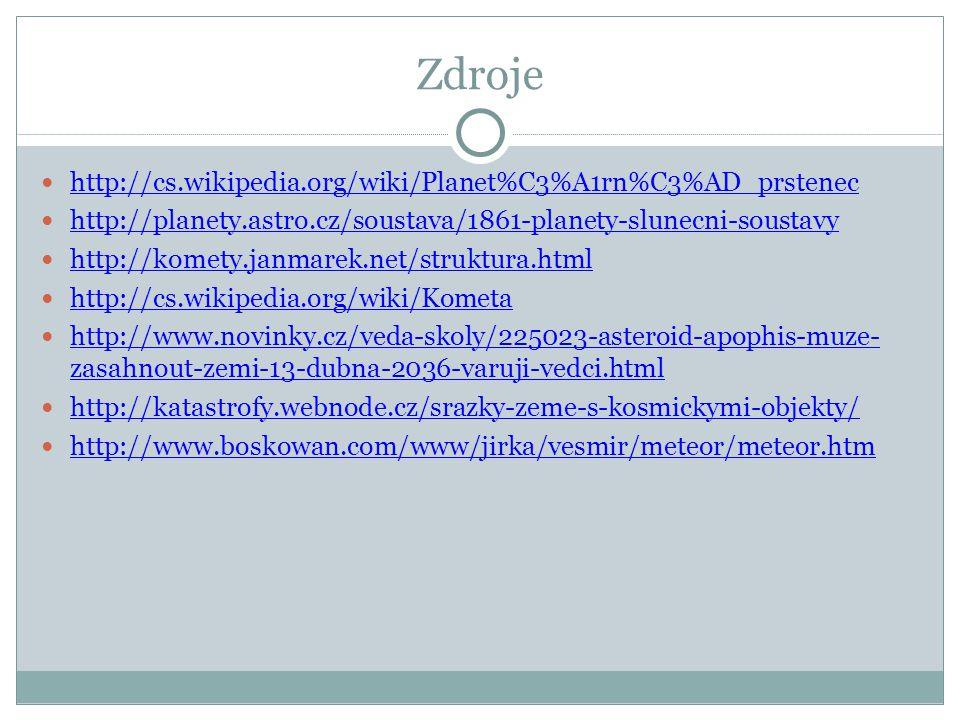 Zdroje http://cs.wikipedia.org/wiki/Planet%C3%A1rn%C3%AD_prstenec http://planety.astro.cz/soustava/1861-planety-slunecni-soustavy http://komety.janmarek.net/struktura.html http://cs.wikipedia.org/wiki/Kometa http://www.novinky.cz/veda-skoly/225023-asteroid-apophis-muze- zasahnout-zemi-13-dubna-2036-varuji-vedci.html http://www.novinky.cz/veda-skoly/225023-asteroid-apophis-muze- zasahnout-zemi-13-dubna-2036-varuji-vedci.html http://katastrofy.webnode.cz/srazky-zeme-s-kosmickymi-objekty/ http://www.boskowan.com/www/jirka/vesmir/meteor/meteor.htm