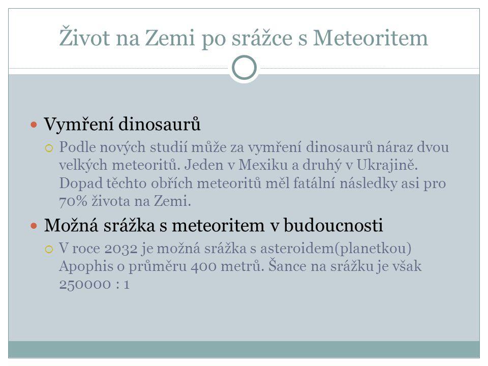 Život na Zemi po srážce s Meteoritem Vymření dinosaurů  Podle nových studií může za vymření dinosaurů náraz dvou velkých meteoritů.