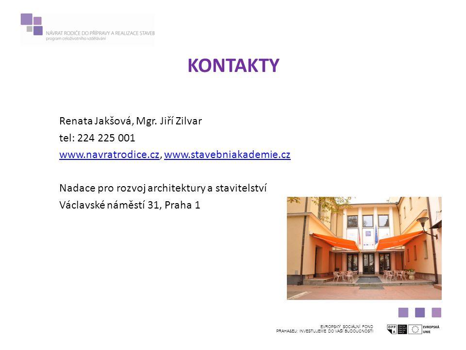 KONTAKTY EVROPSKÝ SOCIÁLNÍ FOND PRAHA&EU: INVESTUJEME DO VAŠÍ BUDOUCNOSTI Renata Jakšová, Mgr.