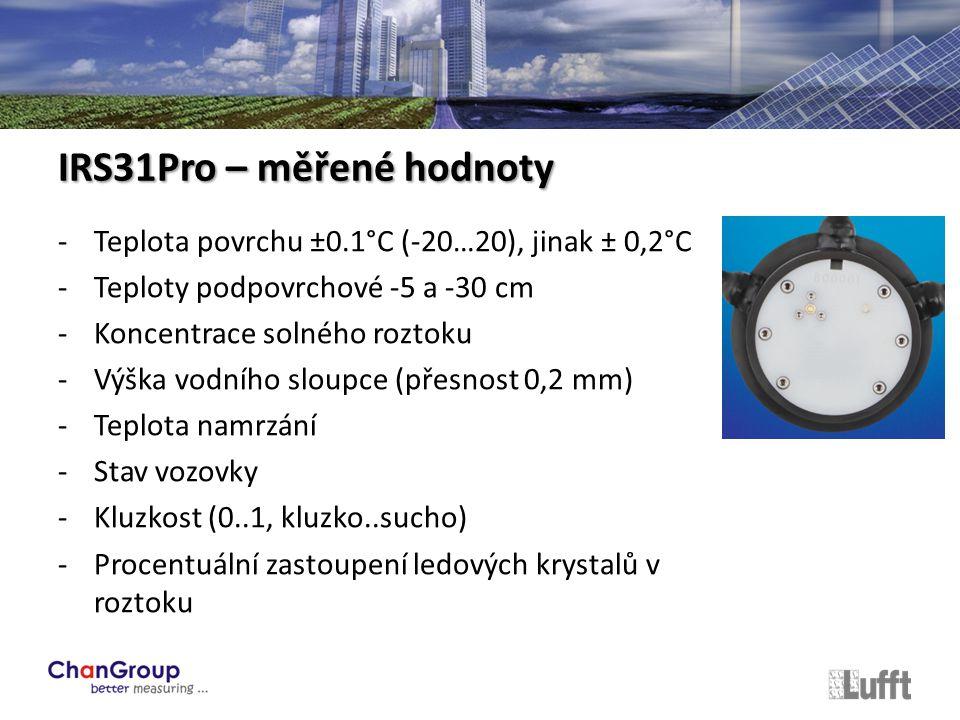 -Teplota povrchu ±0.1°C (-20…20), jinak ± 0,2°C -Teploty podpovrchové -5 a -30 cm -Koncentrace solného roztoku -Výška vodního sloupce (přesnost 0,2 mm) -Teplota namrzání -Stav vozovky -Kluzkost (0..1, kluzko..sucho) -Procentuální zastoupení ledových krystalů v roztoku IRS31Pro – měřené hodnoty
