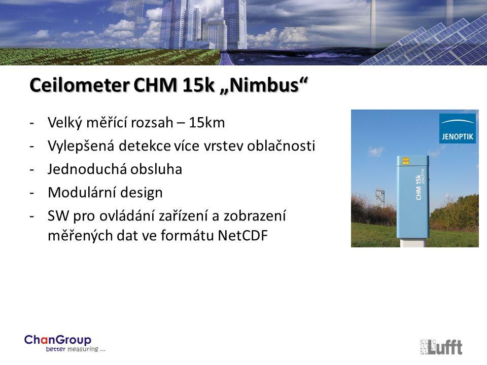 """-Velký měřící rozsah – 15km -Vylepšená detekce více vrstev oblačnosti -Jednoduchá obsluha -Modulární design -SW pro ovládání zařízení a zobrazení měřených dat ve formátu NetCDF Ceilometer CHM 15k """"Nimbus"""
