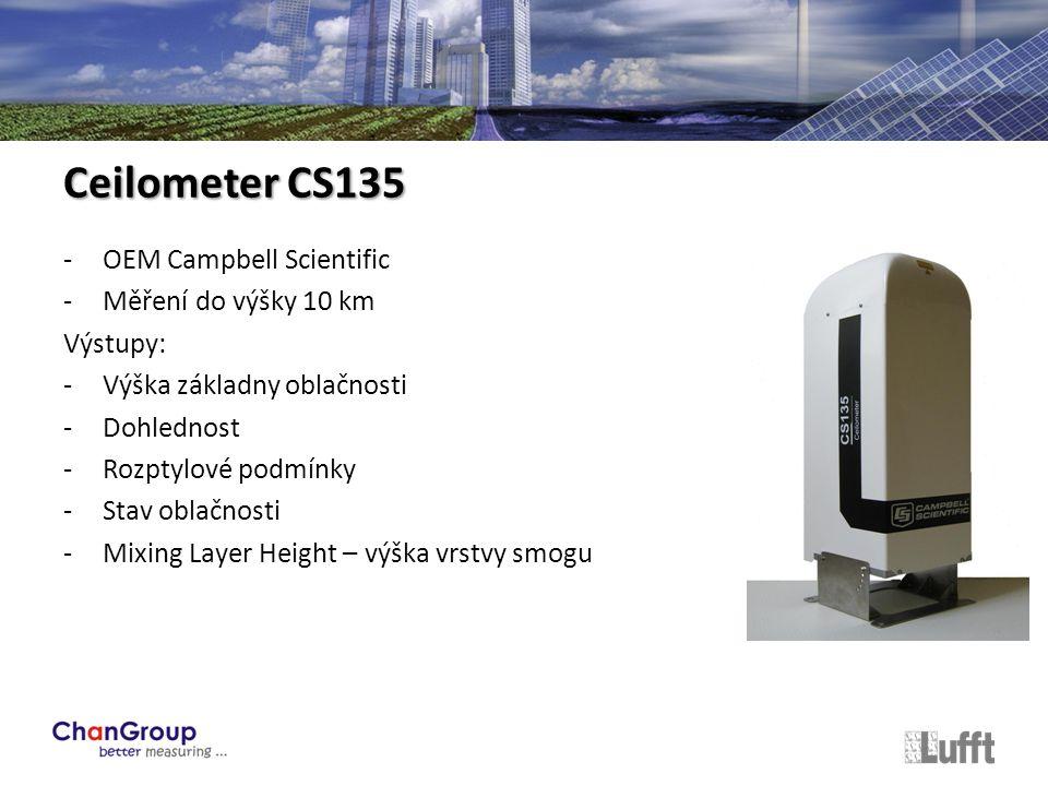 -OEM Campbell Scientific -Měření do výšky 10 km Výstupy: -Výška základny oblačnosti -Dohlednost -Rozptylové podmínky -Stav oblačnosti -Mixing Layer Height – výška vrstvy smogu Ceilometer CS135