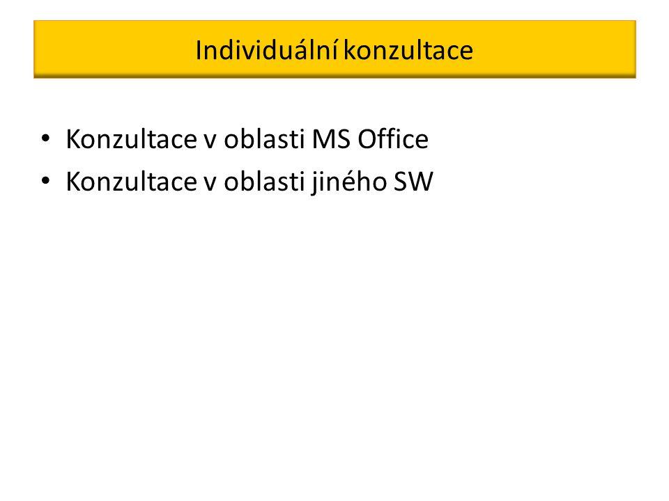 Individuální konzultace Konzultace v oblasti MS Office Konzultace v oblasti jiného SW