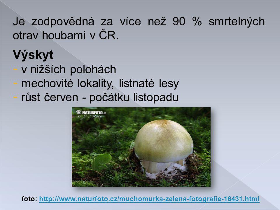 Výskyt - v nižších polohách - mechovité lokality, listnaté lesy - růst červen - počátku listopadu Je zodpovědná za více než 90 % smrtelných otrav houbami v ČR.