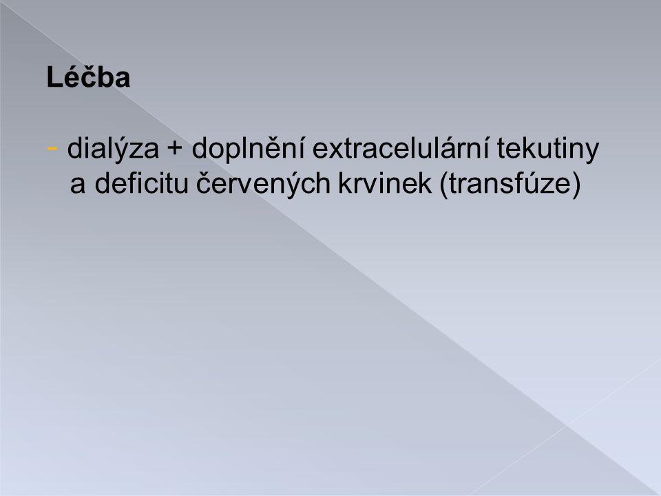 Léčba - dialýza + doplnění extracelulární tekutiny a deficitu červených krvinek (transfúze)