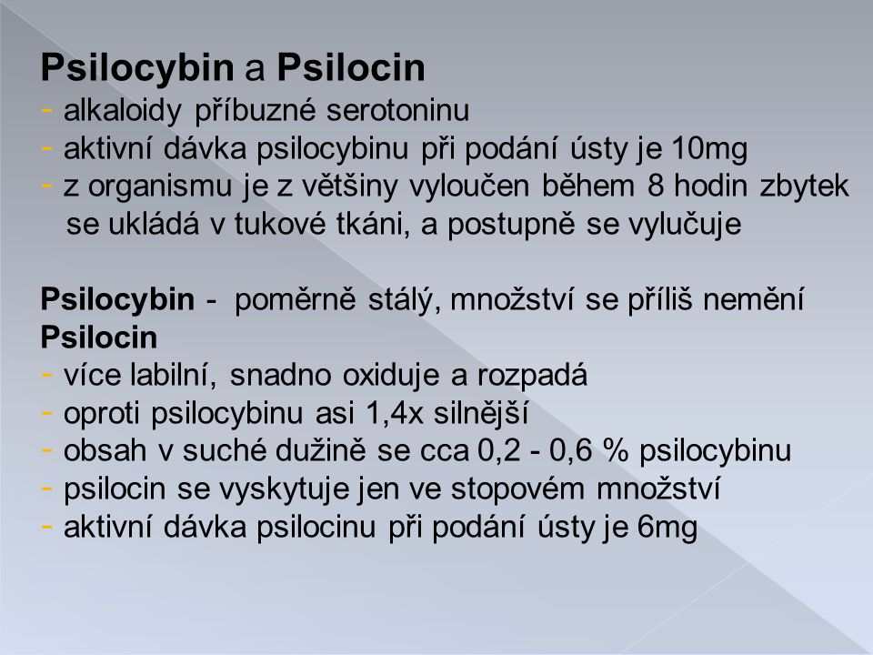 Psilocybin a Psilocin - alkaloidy příbuzné serotoninu - aktivní dávka psilocybinu při podání ústy je 10mg - z organismu je z většiny vyloučen během 8 hodin zbytek se ukládá v tukové tkáni, a postupně se vylučuje Psilocybin - poměrně stálý, množství se příliš nemění Psilocin - více labilní, snadno oxiduje a rozpadá - oproti psilocybinu asi 1,4x silnější - obsah v suché dužině se cca 0,2 - 0,6 % psilocybinu - psilocin se vyskytuje jen ve stopovém množství - aktivní dávka psilocinu při podání ústy je 6mg
