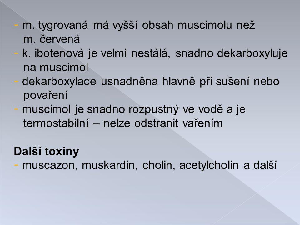 - m.tygrovaná má vyšší obsah muscimolu než m. červená - k.