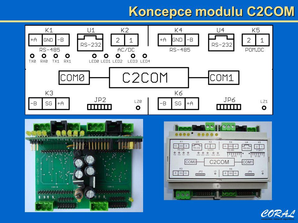 Základní deska  Pro každý COM rozhraní RS-232, RS-485 a piggy modul, COM1 galvanicky oddělený  Napájecí zdroj, vstup 7-25V ss i st, zabudovaný měnič pro COM1  Přepěťová a protizkratová ochrana komunikačních rozhraní Procesorový modul  Jednočipový procesor 7.39 Mhz, 128 kB flash, 4 kB RAM, 4 kB EEPROM  Možnost externí RAM až 128 Kb, možnost RTC obvodu  Špičky pro nastavení parametrů, připojení vstupů a výstupů, připojení displeje  Indikační LED diody pro kontrolu chodu programu v modulu Alternativa k procesorovému modulu  Připojení přepínače směru komunikace pro prostý převodník bez inteligence Konfigurace modulu C2COM
