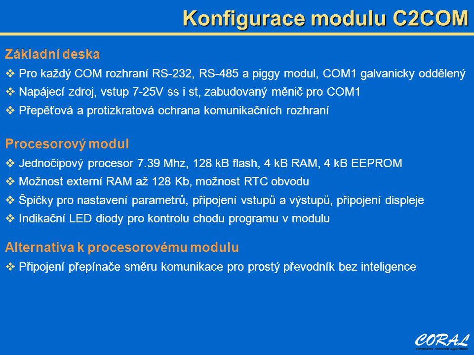 Zabudované rozhraní pro oba COMy  RS-232 a RS-485, COM1 galvanicky oddělený Vkládaná rozhraní přes piggy moduly  Sériová rozhraní RS-232, RS-485, RS-422, PL20, MBUS master i slave  Ethernet modul pro komunikaci po síti, WiFi nebo internetu  Radiový modem pro komunikaci na krátké vzdálenosti (stovky metrů) v pásmu 434 MHz nebo 868 MHz  GSM a GSM-GPRS datové modemy  Modul pro hlasovou komunikaci Komunikační možnosti modulu C2COM