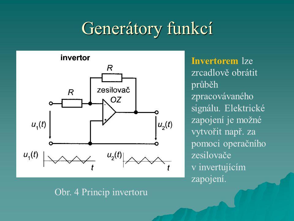 Generátory funkcí Obr. 4 Princip invertoru Invertorem lze zrcadlově obrátit průběh zpracovávaného signálu. Elektrické zapojení je možné vytvořit např.