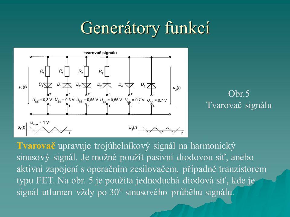 Generátory funkcí Obr.5 Tvarovač signálu Tvarovač upravuje trojúhelníkový signál na harmonický sinusový signál. Je možné použít pasivní diodovou síť,