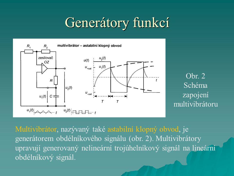 Generátory funkcí Obr. 2 Schéma zapojení multivibrátoru Multivibrátor, nazývaný také astabilní klopný obvod, je generátorem obdélníkového signálu (obr