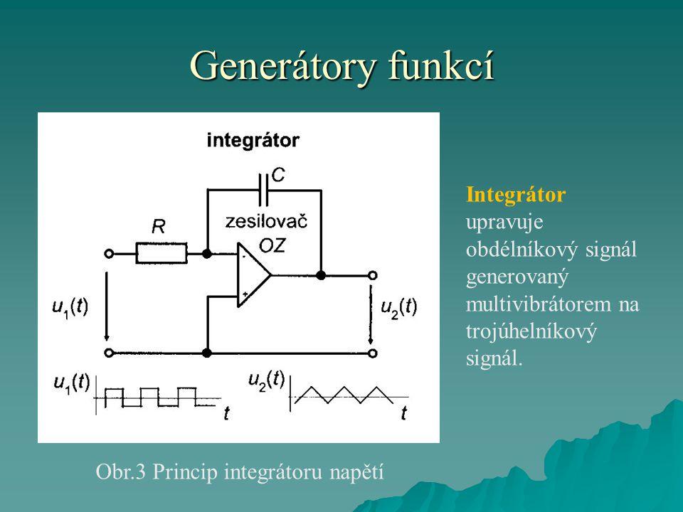 Generátory funkcí Obr.3 Princip integrátoru napětí Integrátor upravuje obdélníkový signál generovaný multivibrátorem na trojúhelníkový signál.