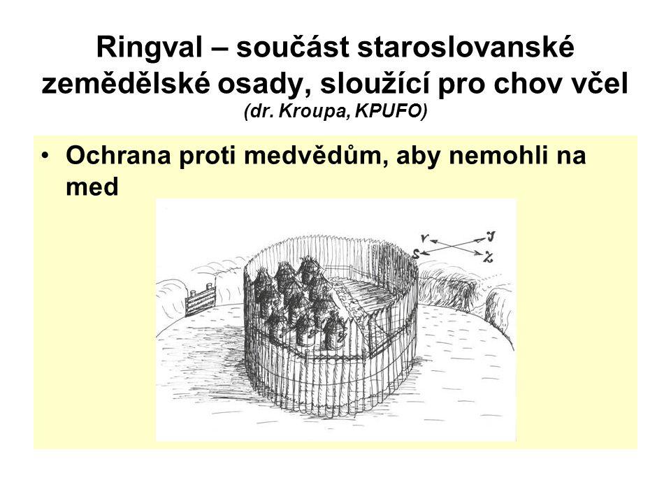 Ringval – součást staroslovanské zemědělské osady, sloužící pro chov včel (dr. Kroupa, KPUFO) Ochrana proti medvědům, aby nemohli na med