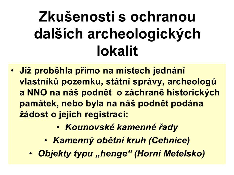 Zkušenosti s ochranou dalších archeologických lokalit Již proběhla přímo na místech jednání vlastníků pozemku, státní správy, archeologů a NNO na náš