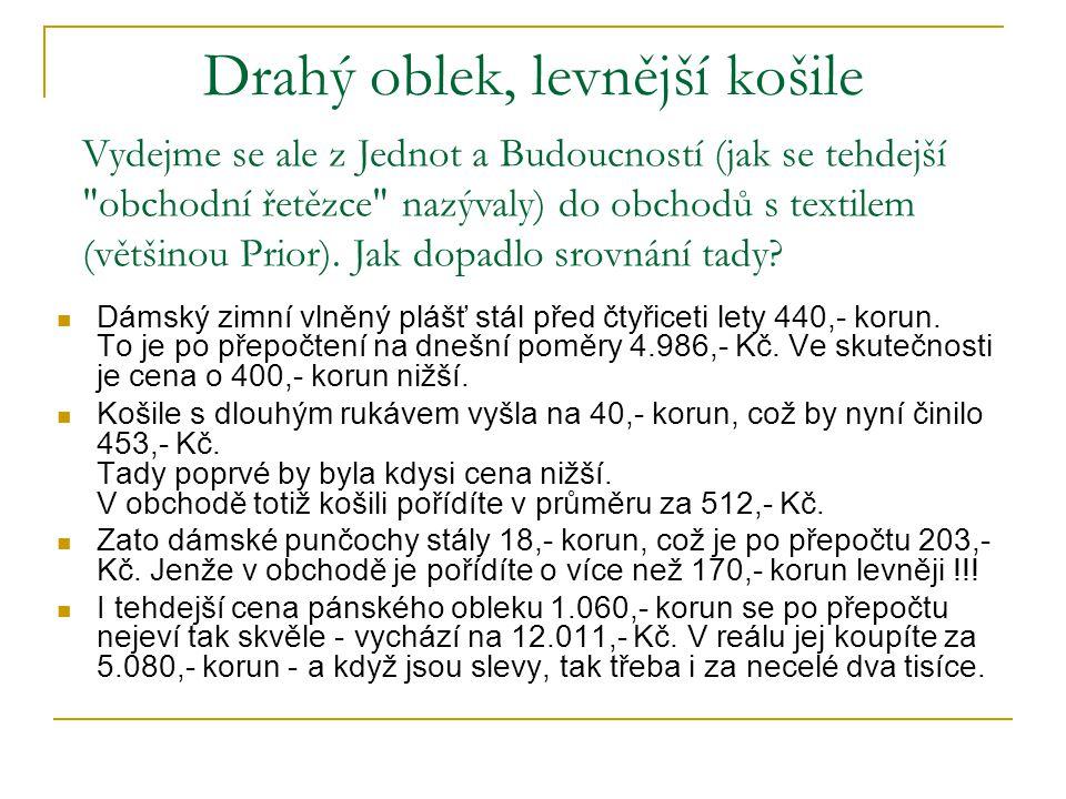Drahý oblek, levnější košile Dámský zimní vlněný plášť stál před čtyřiceti lety 440,- korun.