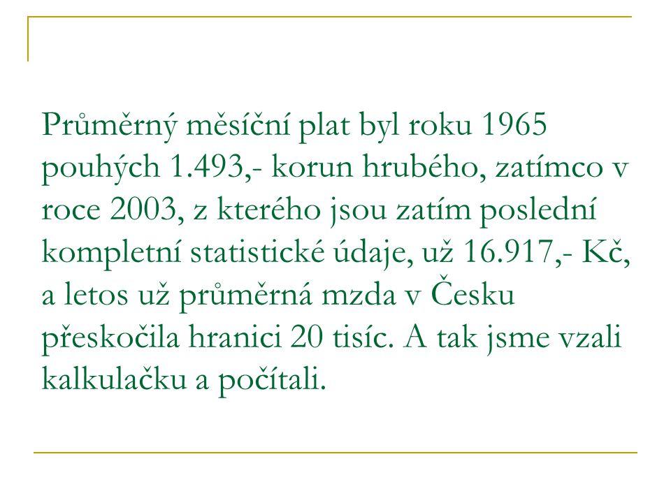 Průměrný měsíční plat byl roku 1965 pouhých 1.493,- korun hrubého, zatímco v roce 2003, z kterého jsou zatím poslední kompletní statistické údaje, už 16.917,- Kč, a letos už průměrná mzda v Česku přeskočila hranici 20 tisíc.
