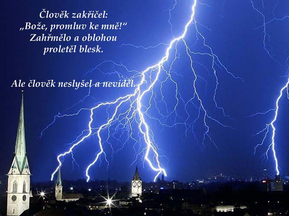 """Člověk zakřičel: """"Bože, promluv ke mně! Zahřmělo a oblohou proletěl blesk."""