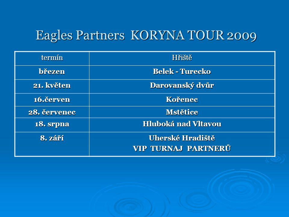 Eagles Partners KORYNA TOUR 2009 Eagles Partners KORYNA TOUR 2009 NABÍDKA PRO PARTNERY: HLAVNÍ PARTNER TURNAJE – 120 000,- Kč/turnaj HLAVNÍ PARTNER TURNAJE – 120 000,- Kč/turnaj  jméno partnera v názvu turnaje  hypertextové logo na webových stránkách všech ostatních hlavních partnerů www.wipreklama.cz; www.euroawk.cz; www.andy.cz; www.koryna.cz; www.gcuh.cz www.wipreklama.czwww.euroawk.cz www.andy.czwww.koryna.czwww.gcuh.czwww.wipreklama.czwww.euroawk.cz www.andy.czwww.koryna.czwww.gcuh.cz  dominantní logo na všech tiskovinách vydávaných v souvislosti s Eagles Partners KORYNA TOUR 2009  na turnaji bude hlavní partner prezentován 2 x reklamní plachtou 2 x 1 m  logo na billboardech propagujících Eagles Partners KORYNA TOUR 2009 – celorepubliková kampaň  dále dominantní logo při prezentaci Eagles Partners KORYNA TOUR 2009 v tiskovinách s golfovou tématikou a dalších materiálech  reprezentační fotodokumentaci turnaje  zástupce partnera zahajuje a zakončuje turnaj proslovem  na turnaji má hlavní partner turnaje volných 16 hracích míst  hlavní partner turnaje má právo si pozvat 12 nehrajících hostů