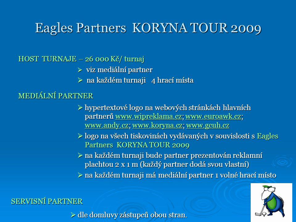 Eagles Partners KORYNA TOUR 2009 HOST TURNAJE – 26 000 Kč/ turnaj  viz mediální partner  na každém turnaji 4 hrací místa MEDIÁLNÍ PARTNER  hypertextové logo na webových stránkách hlavních partnerů www.wipreklama.cz; www.euroawk.cz; www.andy.cz; www.koryna.cz; www.gcuh.cz www.wipreklama.czwww.euroawk.cz www.andy.czwww.koryna.czwww.gcuh.czwww.wipreklama.czwww.euroawk.cz www.andy.czwww.koryna.czwww.gcuh.cz  logo na všech tiskovinách vydávaných v souvislosti s Eagles Partners KORYNA TOUR 2009  na každém turnaji bude partner prezentován reklamní plachtou 2 x 1 m (každý partner dodá svou vlastní)  na každém turnaji má mediální partner 1 volné hrací místo SERVISNÍ PARTNER  dle domluvy zástupců obou stran.
