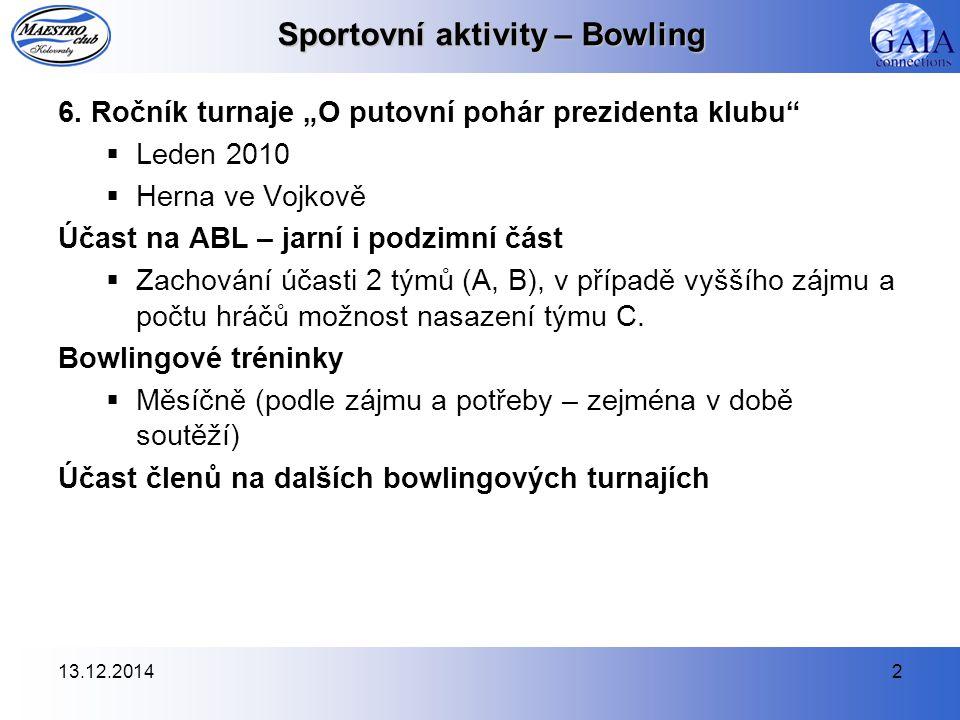 13.12.20142 Sportovní aktivity – Bowling 6.