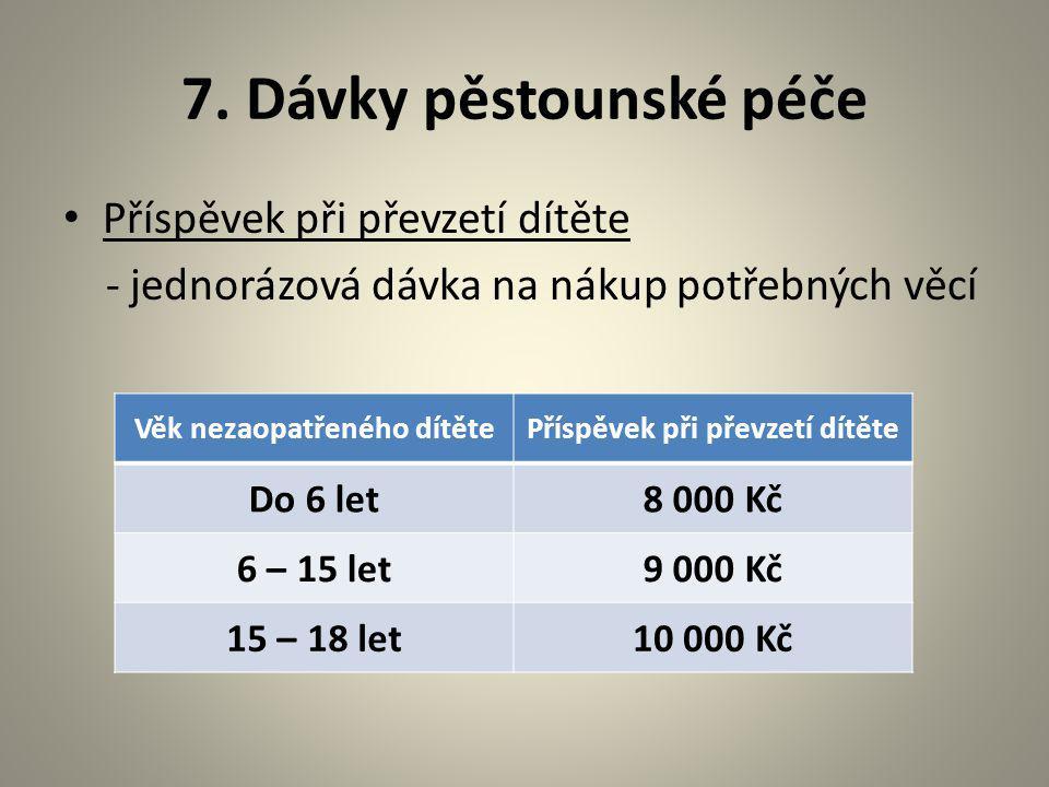 7. Dávky pěstounské péče Příspěvek při převzetí dítěte - jednorázová dávka na nákup potřebných věcí Věk nezaopatřeného dítětePříspěvek při převzetí dí