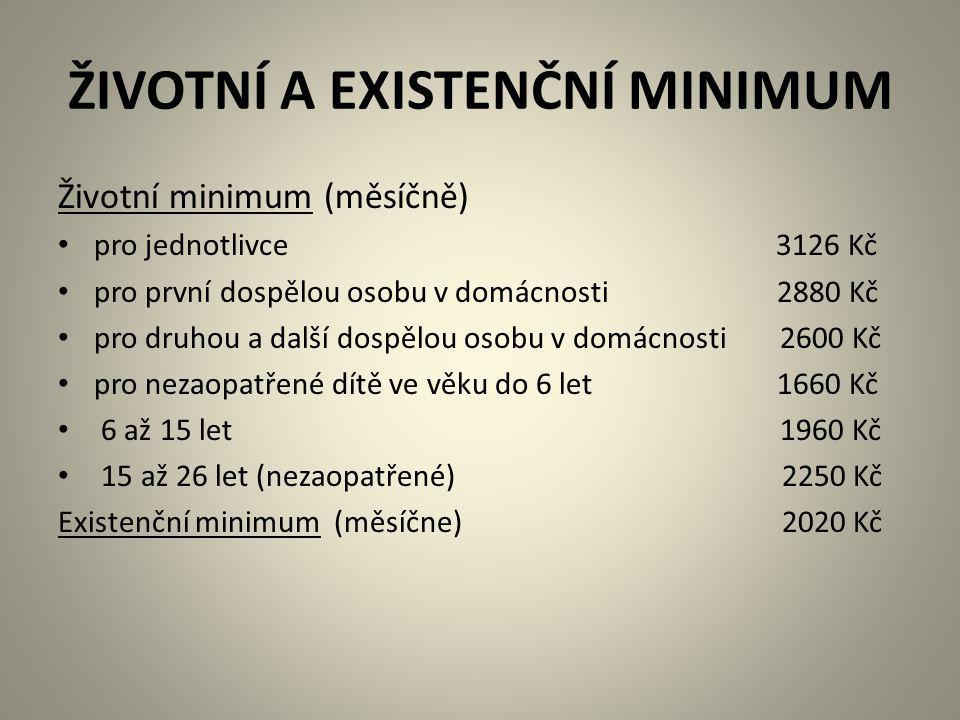 ŽIVOTNÍ A EXISTENČNÍ MINIMUM Životní minimum (měsíčně) pro jednotlivce 3126 Kč pro první dospělou osobu v domácnosti 2880 Kč pro druhou a další dospěl