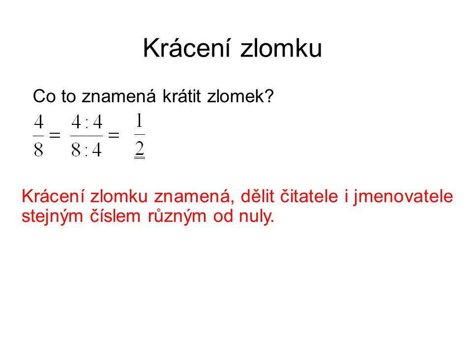 Krácení zlomku Co to znamená krátit zlomek? Krácení zlomku znamená, dělit čitatele i jmenovatele stejným číslem různým od nuly.