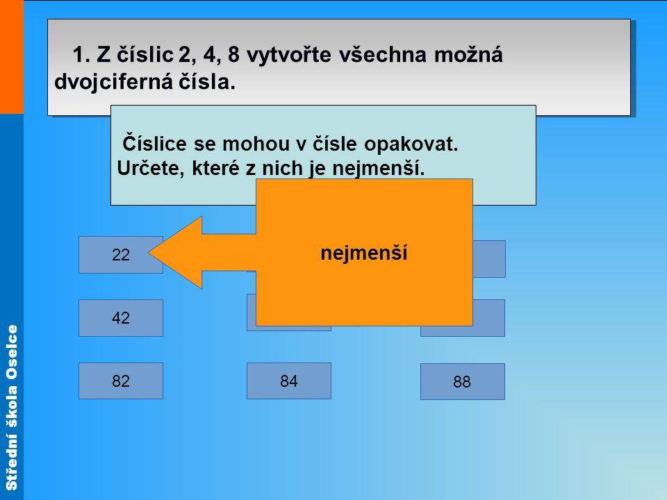 Střední škola Oselce 1. Z číslic 2, 4, 8 vytvořte všechna možná dvojciferná čísla. Číslice se mohou v čísle opakovat. Určete, které z nich je nejmenší